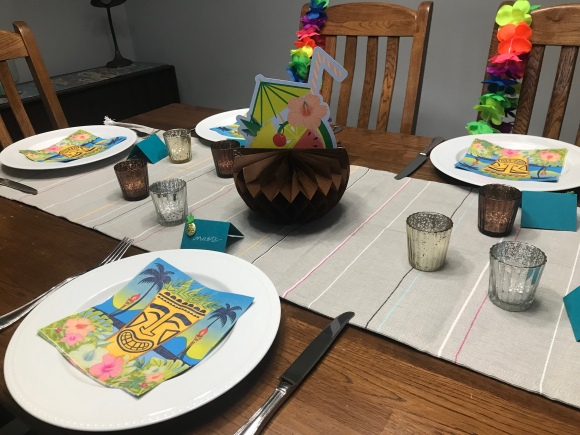 tiki birthday party, aloha birthday, #jktikiparty, tiki party, table setting, leis