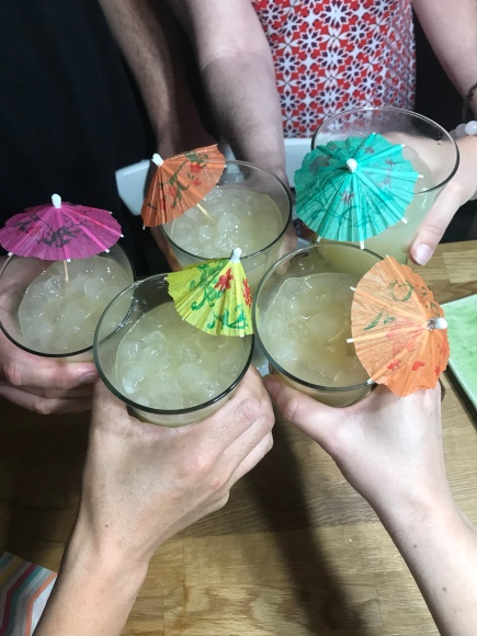 tiki birthday party, aloha birthday, #jktikiparty, tiki party, tiki drinks, man tais, cocktail umbrella