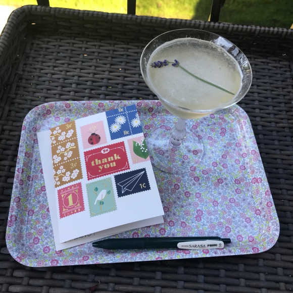 garden party cocktail, snow and graham notecard, vintage cocktail glass, cocktail hour