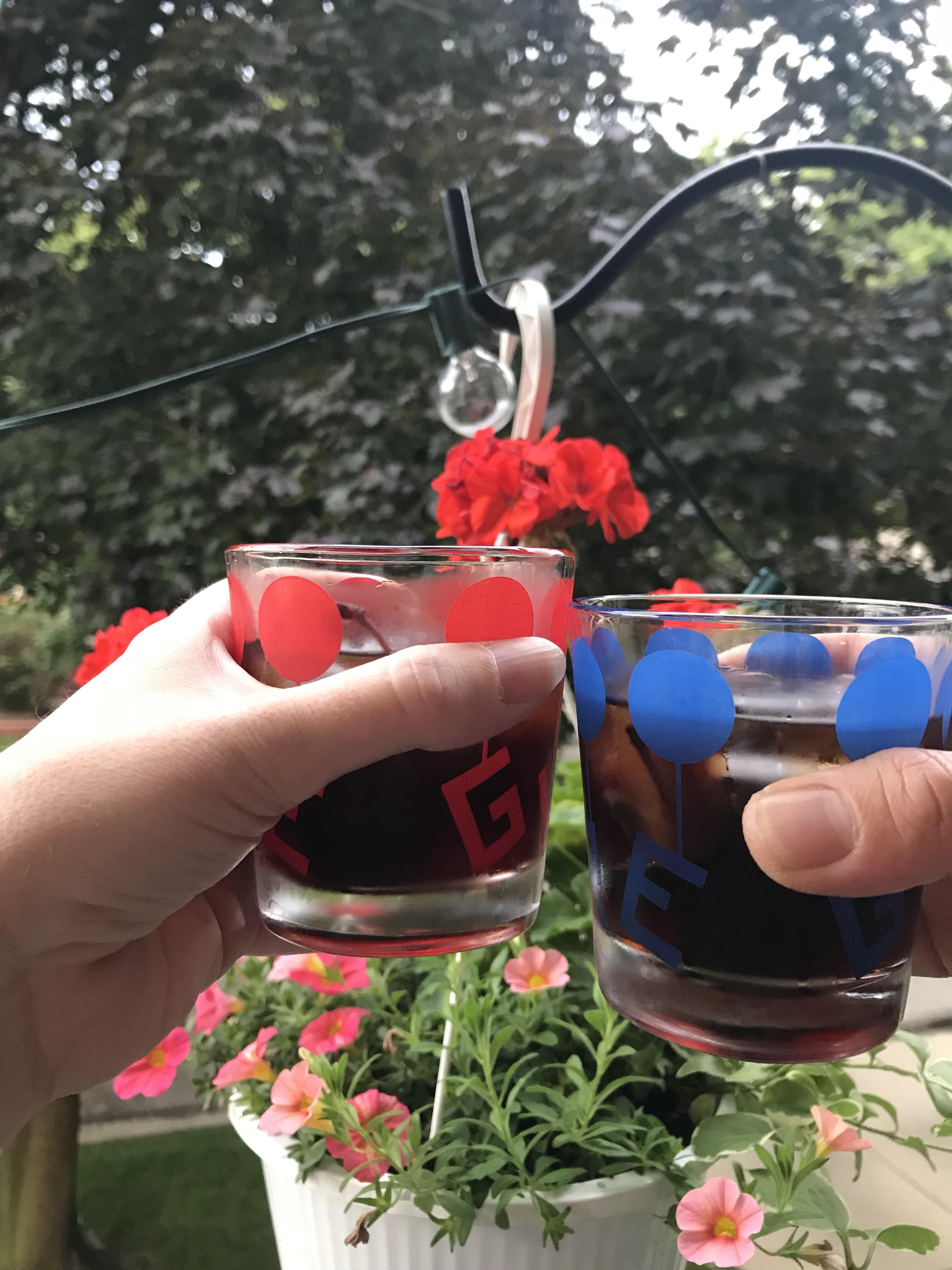 cherry manhattans, vintage glasses, july 4th, hasegawa happy hour