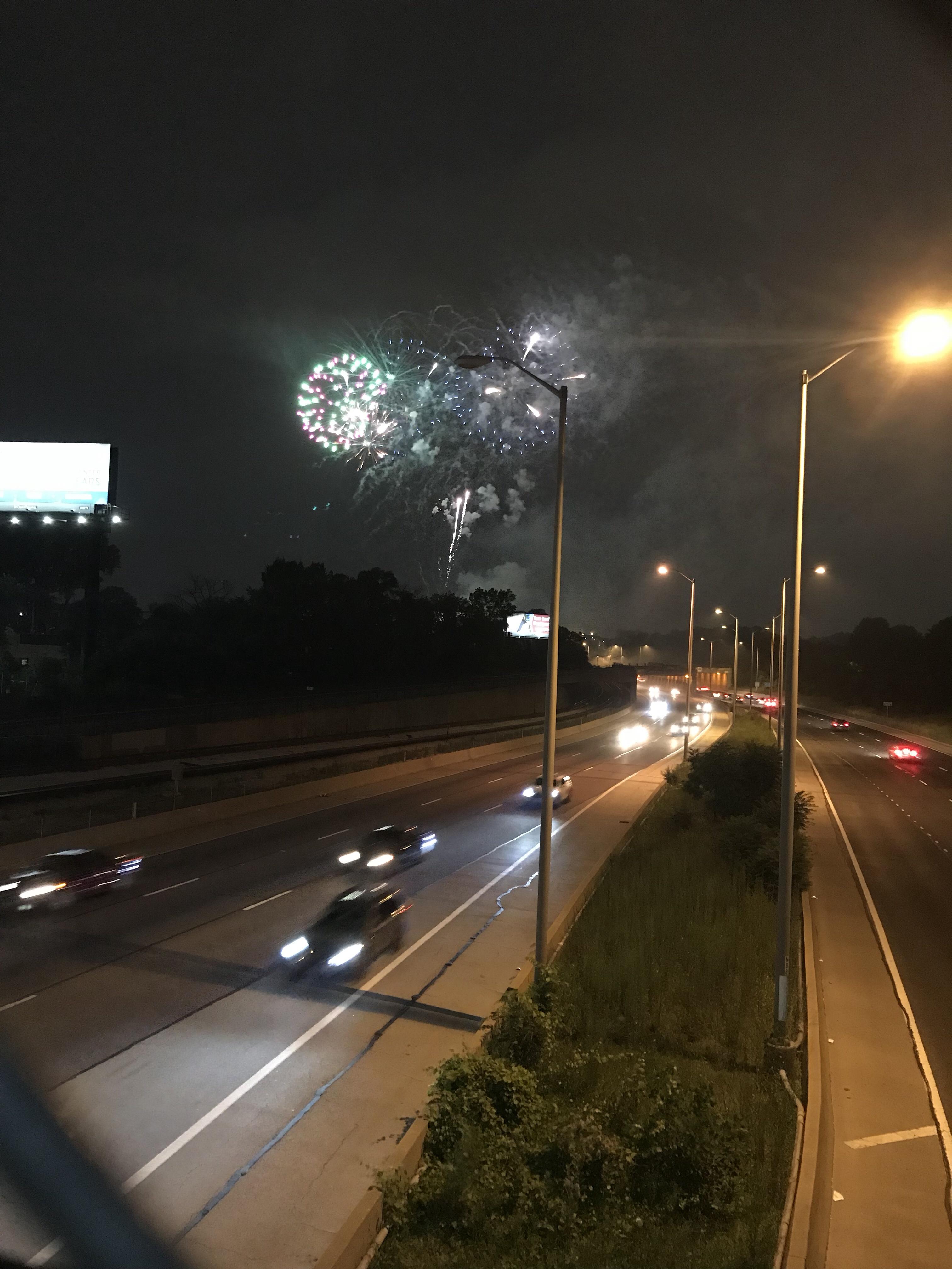 fireworks over 290, circle bridge, forest park fireworks