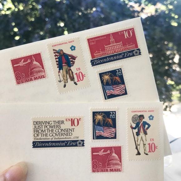 vintage postage, patriotic postage, galaxie safari, red, white, and blue