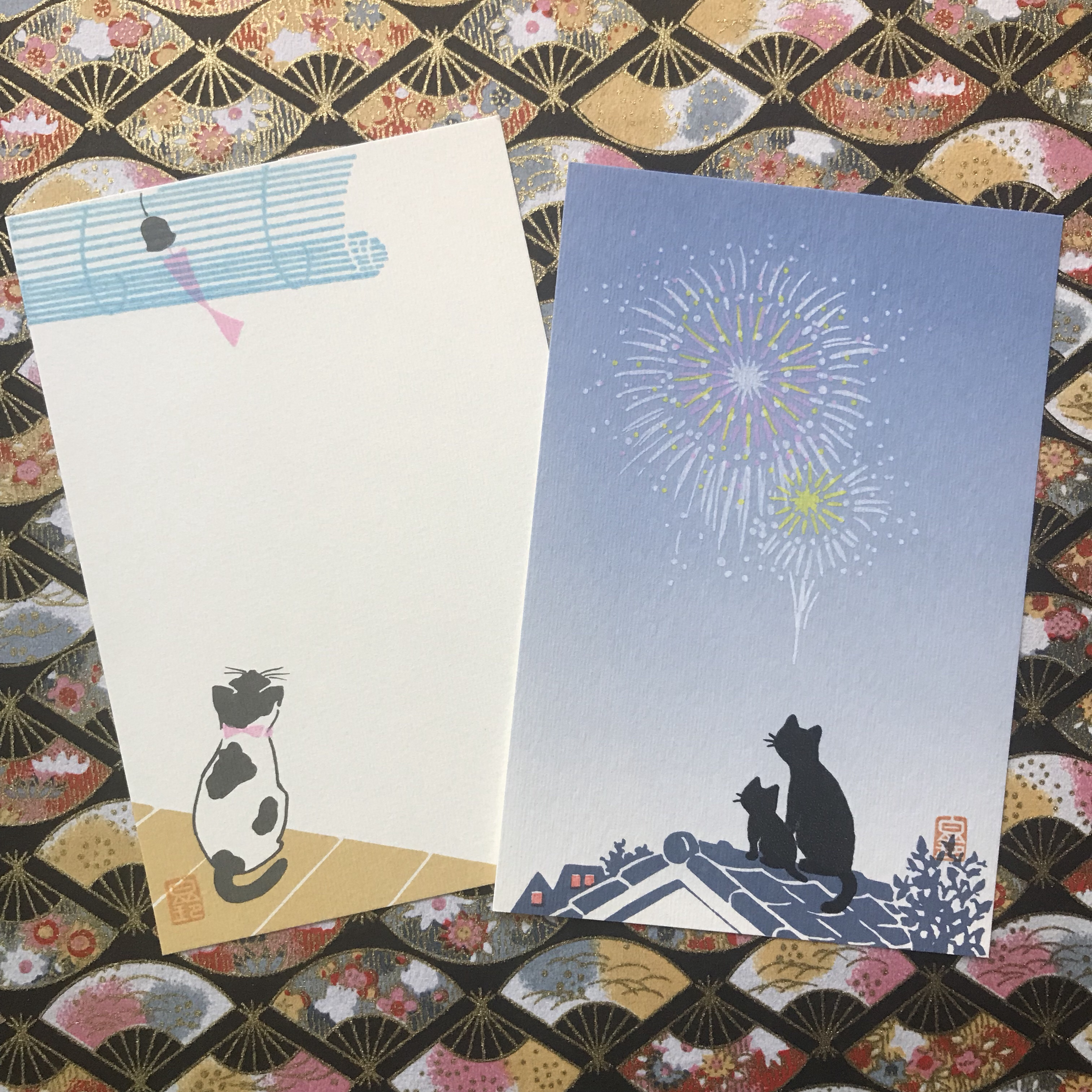tanabata, cats watching fireworks, japanese postcards
