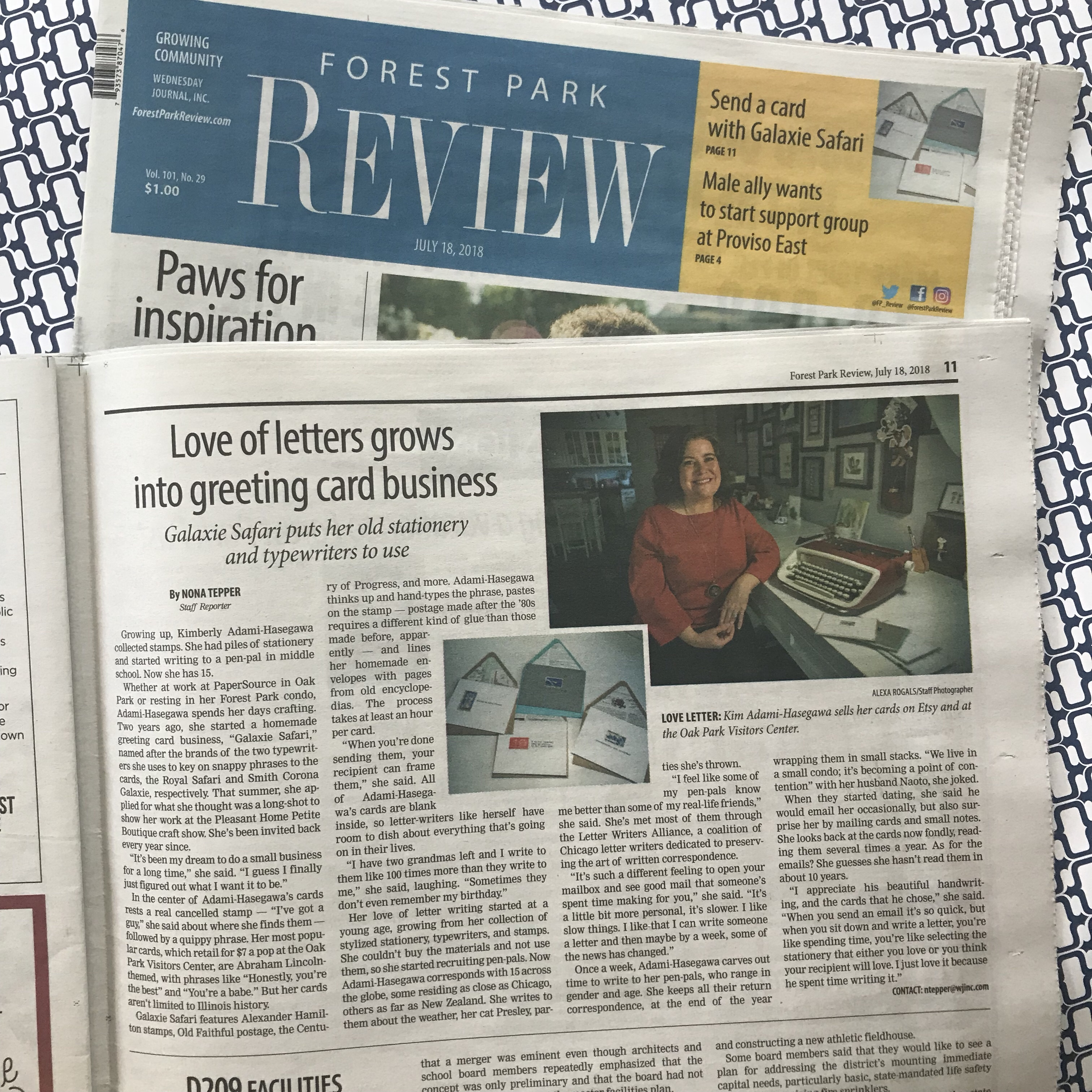 forest Park Review, Galaxie Safari in the news, local newspaper, forest park, oak park