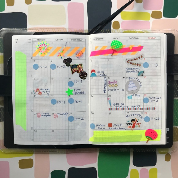 hobonichi, hobonichi calendar, july, monthly spread, calendar stickers