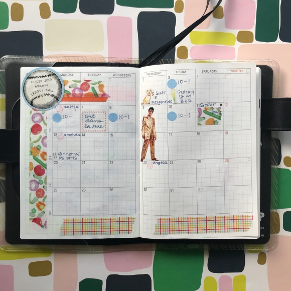 hobonichi, hobonichi calendar, august, monthly spread, calendar stickers