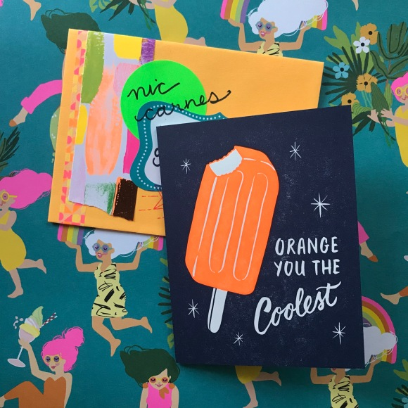 creamsicle letterpress card, neon mail, pen pals, summer mail