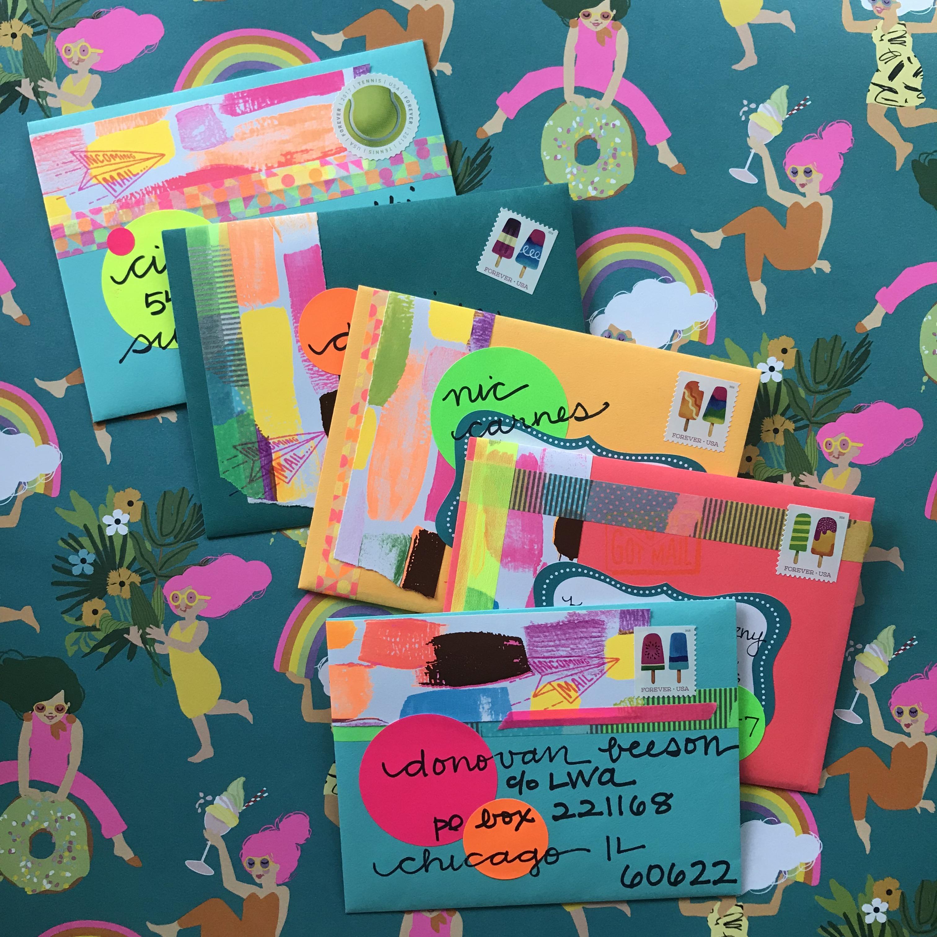 neon mail art, neon mail, pen pals, summer mail