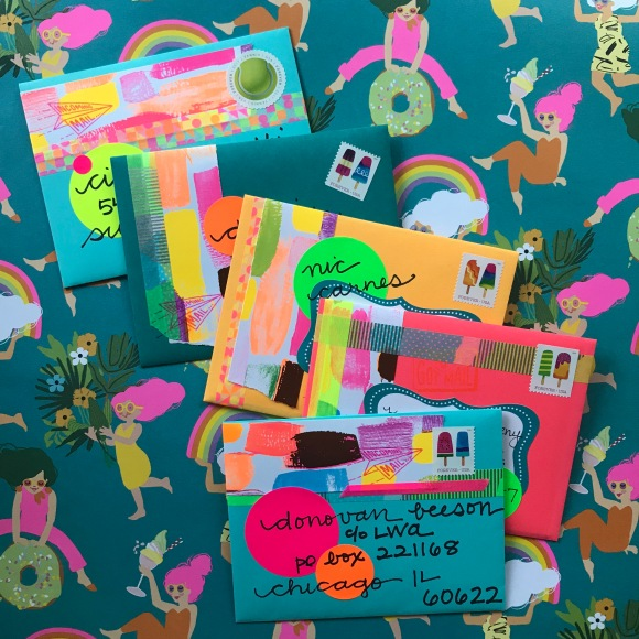 neon mail art, neon mail, pen pals, summer mail