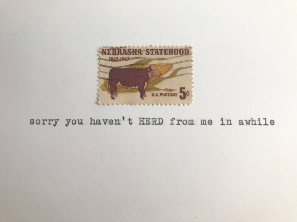 Galaxie Safari greeting card, Kimberly AH, vintage postage, vintage Nebraska stamp, vintage typewriter