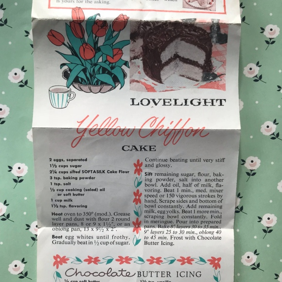 vintage recipes, chiffon cake, old recipes, recipe box