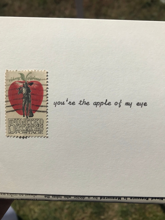 apple of my eye, Johnny Appleseed, postage stamp, Brookfield Fine Arts Fest, Brookfield, IL, Galaxie Safari