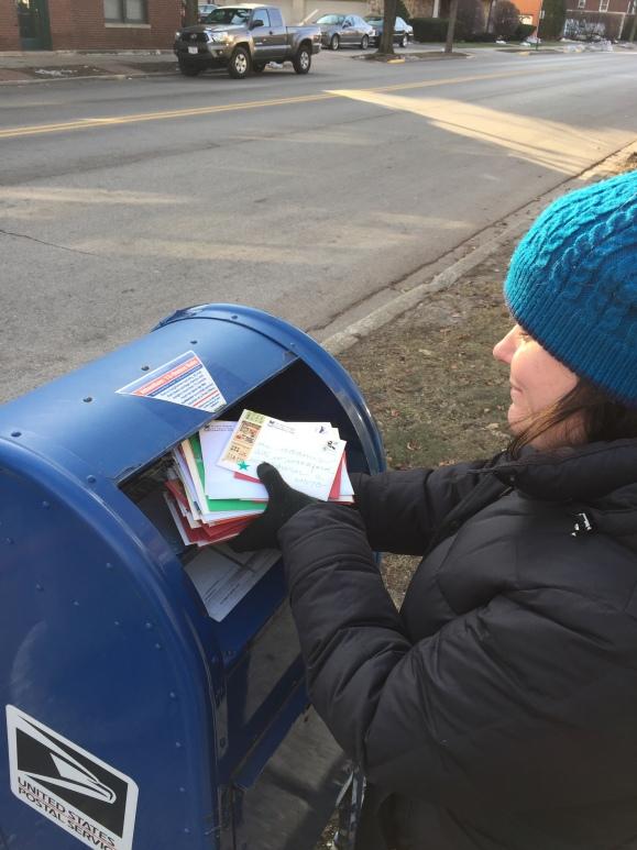 Christmas cards, blue box, feed your mailbox, #feedyourmailbox, holiday greetings, neighborhood mailbox