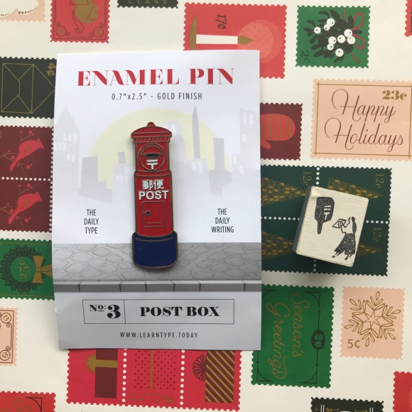 Japan post enamel pin, Japanese mail stamp