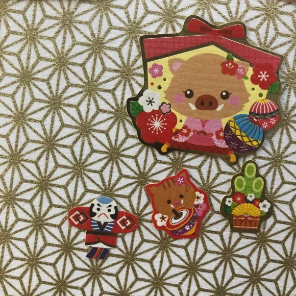 new years stickers, japanese stationery, year of the boar