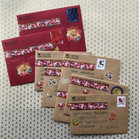 new years stickers, japanese stationery, year of the boar, mail art