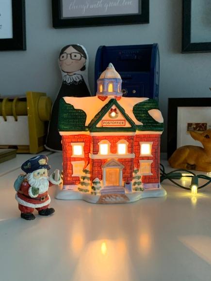 christmas village post office, holiday village, ceramic post office