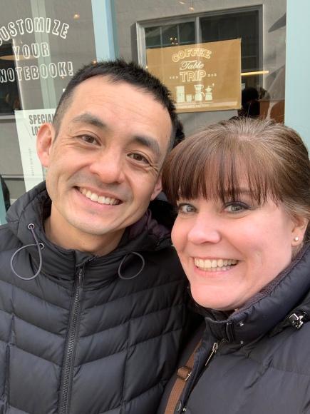 Kimberly and Naoto, Travelers Factory visit