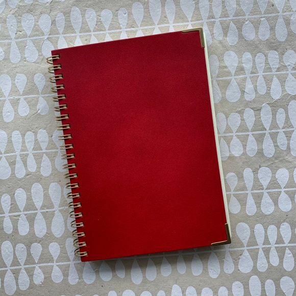 Kakimori notebook, red leather, gold accents