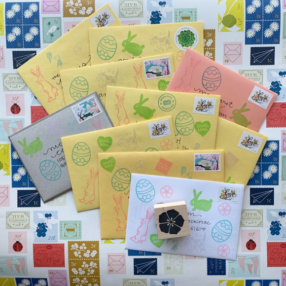 write_on, national card and letter writing month, vintage postage, easter mail