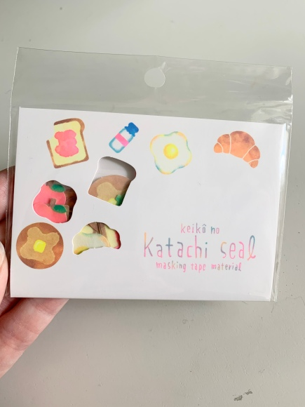 Japanese bread stickers, washi stickers, watercolor stickers